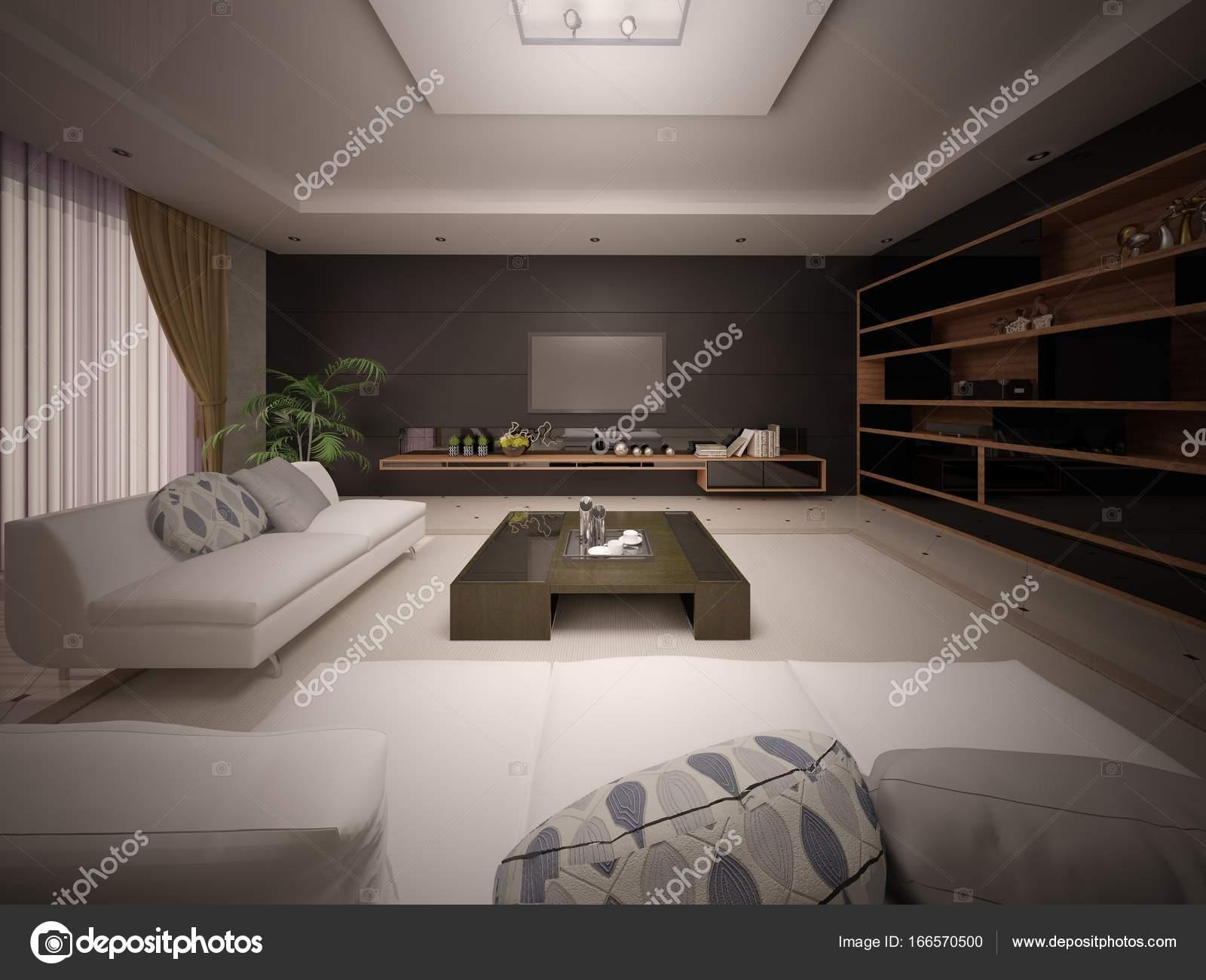 Moderne Modische Wohnzimmer Mit Stilvollen Möbeln Und Dunklem Hintergrund U2014  Foto Von Wodoplyasov
