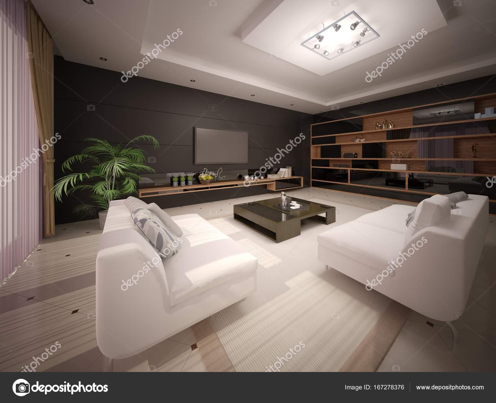 Moderne Wohn Und Esszimmer Mit Einem Stilvollen Interieur
