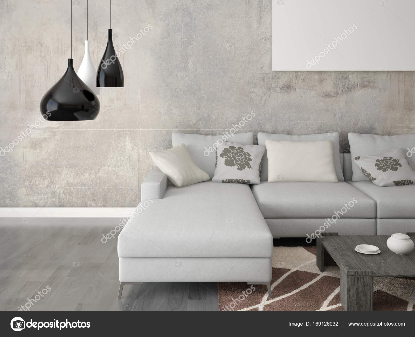 Manichino di un elegante soggiorno con un divano ad angolo grande ...