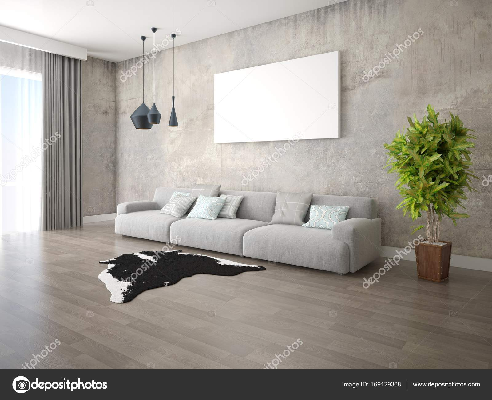 Mock up a spacious living room with a trendy sofa. — Stock Photo ...