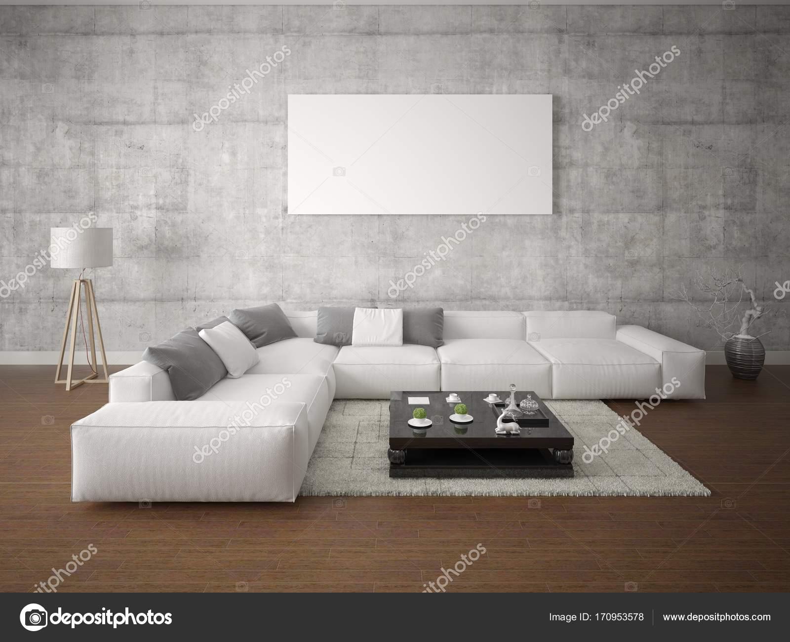 Manichino di un ampio soggiorno con un divano ad angolo grande ...
