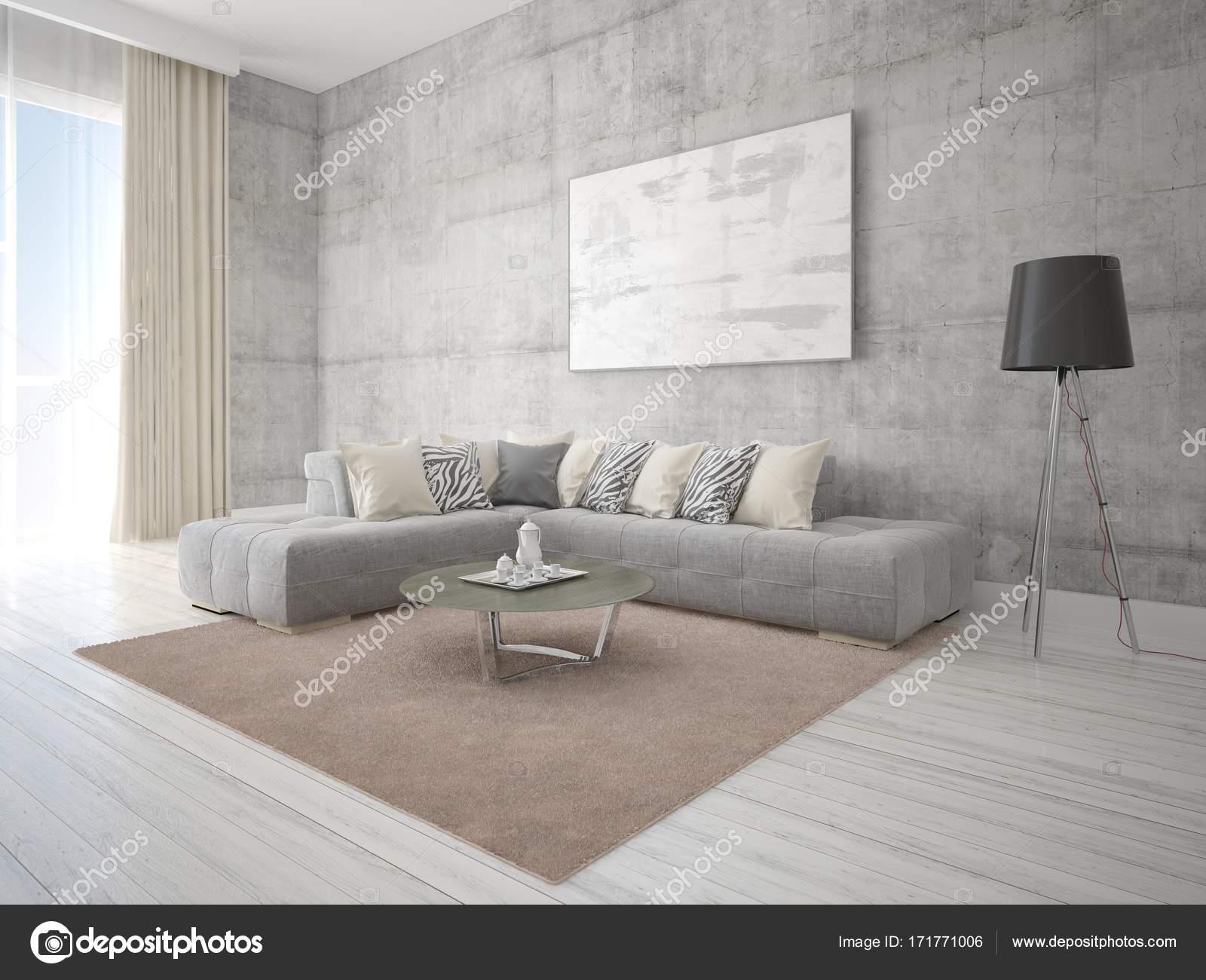 Bespotten van een moderne woonkamer met een grijs hoekbank ...