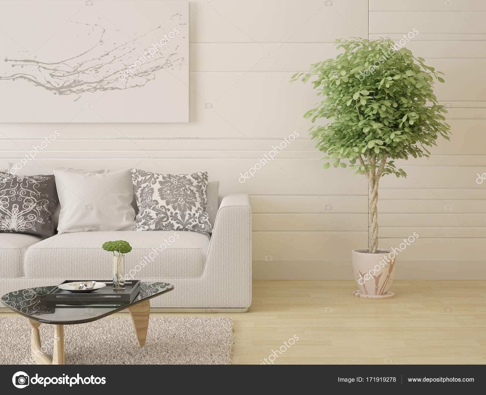 Bespotten van een trendy woonkamer met een compacte Bank — Stockfoto ...
