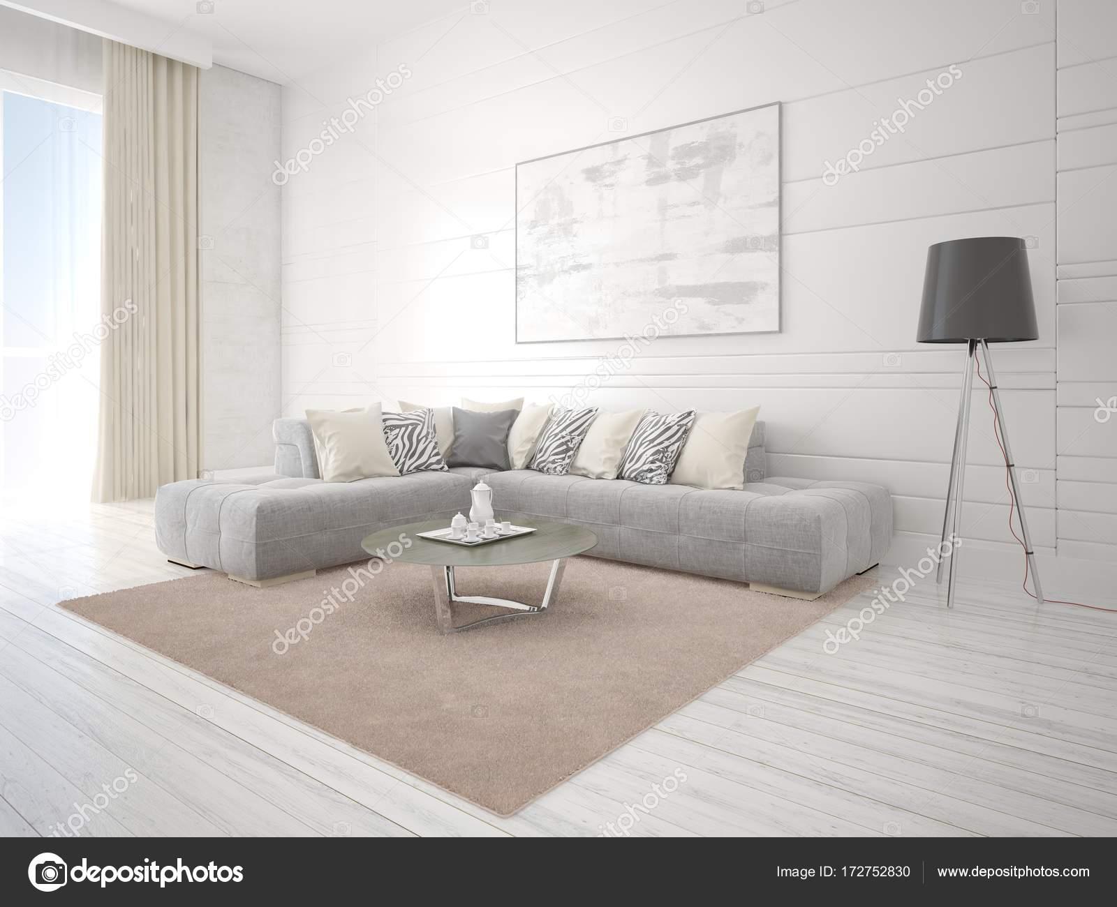 Manichino di un luminoso soggiorno con un divano ad angolo alla moda ...