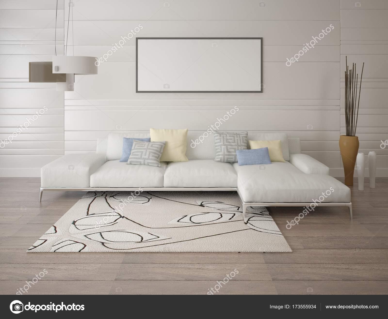 Manichino di un moderno soggiorno con un divano ad angolo luce ...
