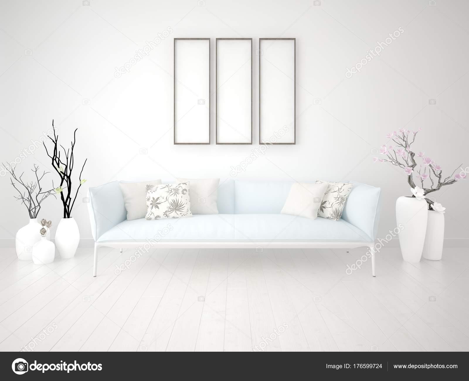 Mock Bright Living Room Classic Sofa Stylish Frames — Stock Photo ...