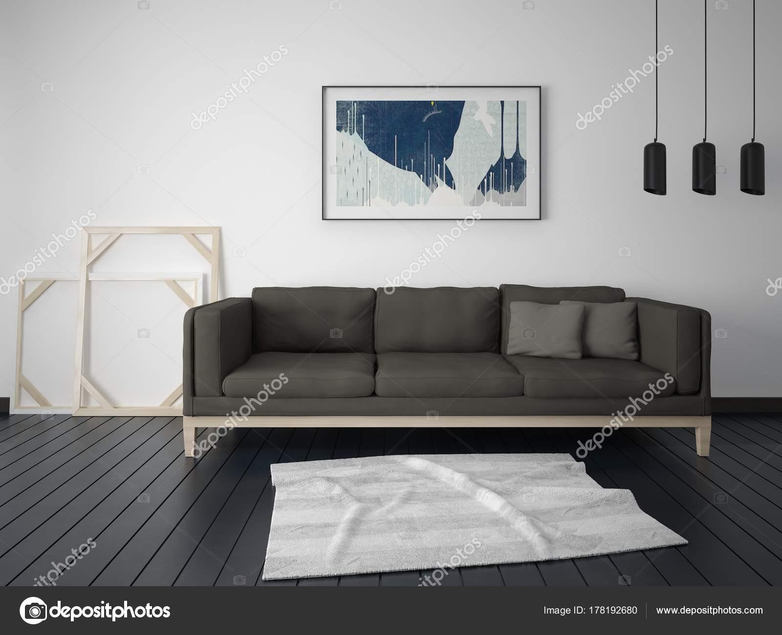 Burlarse Una Moderna Sala Estar Con Muebles Estilo Fondo Blanco ...