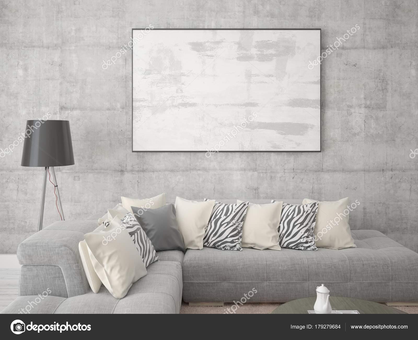 Mock Stylish Living Room Fashionable Corner Sofa Large Empty Frame ...