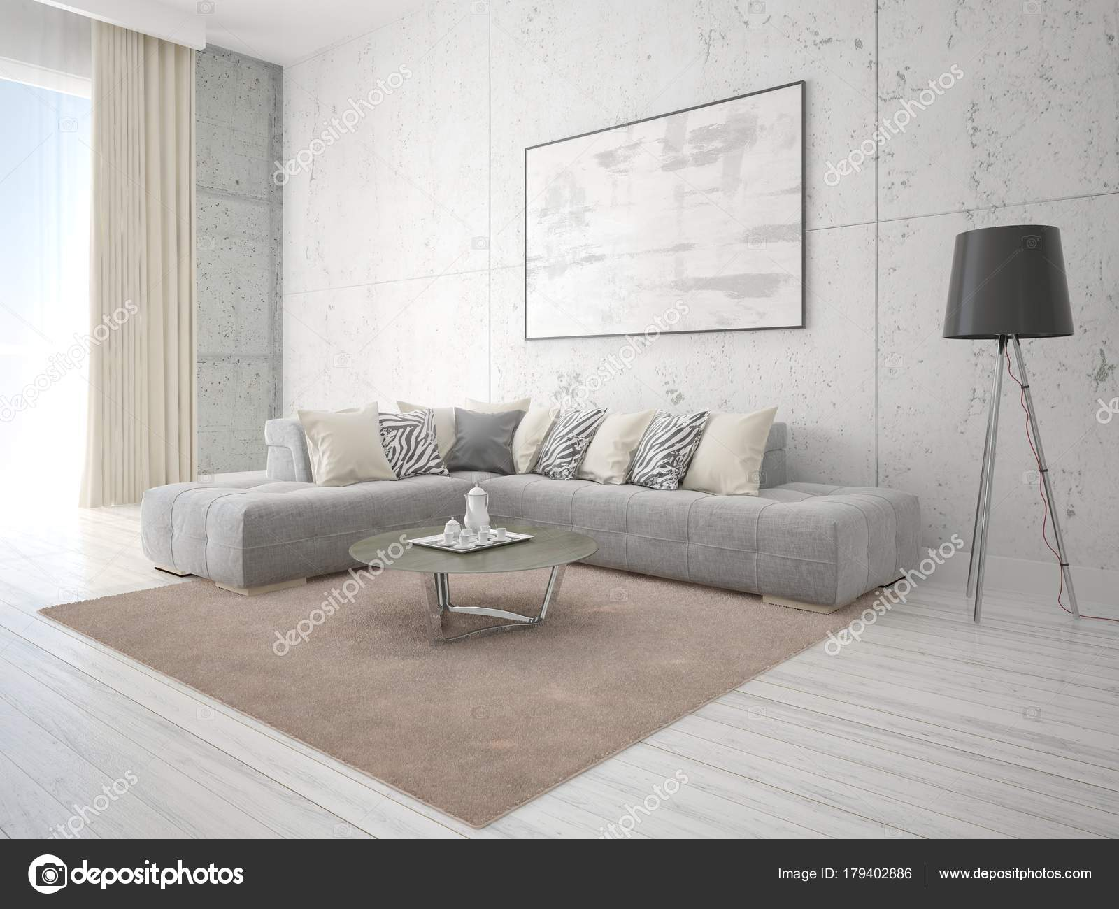 Mock Poster Living Room Gray Corner Sofa Hipster Background — Stock ...