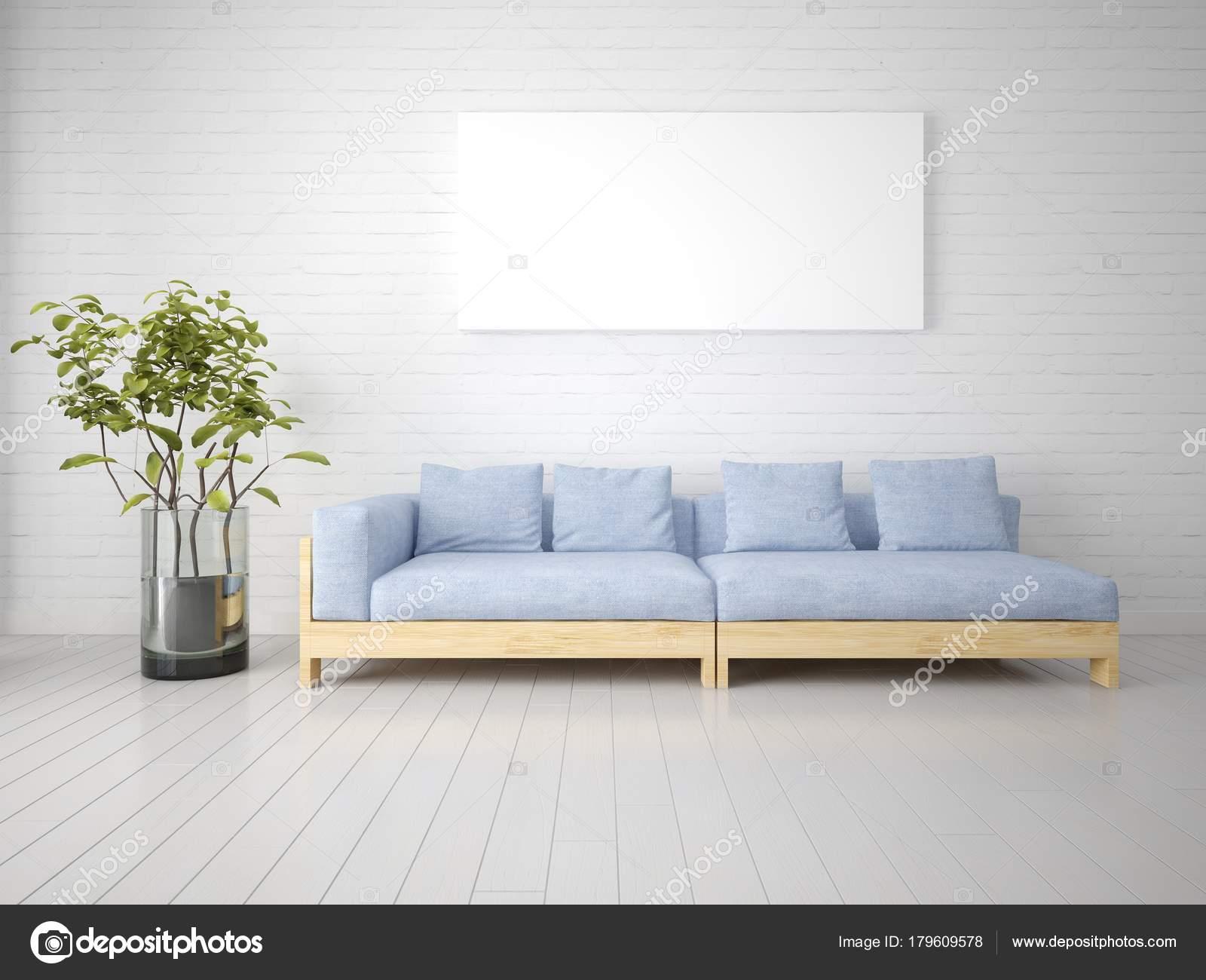 Mock Trendy Living Room Modern Sofa Large Empty Frame — Stock Photo ...