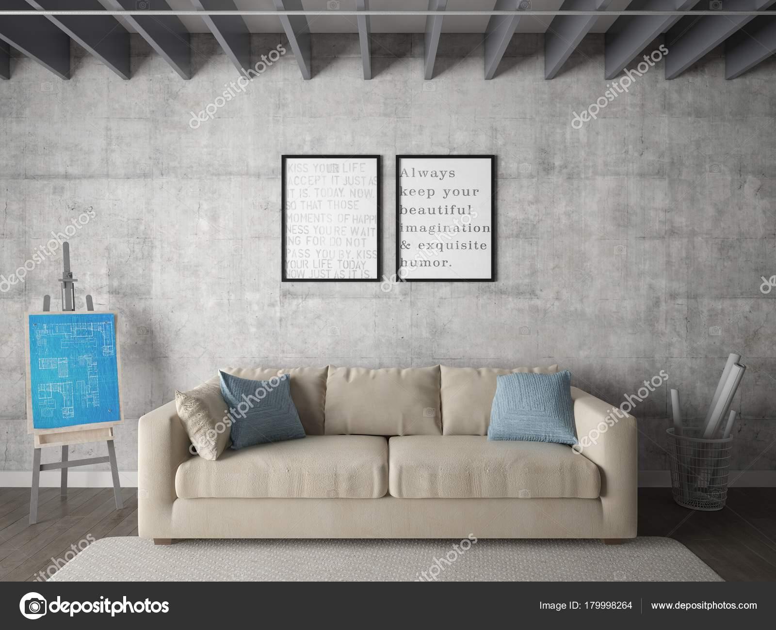 Mock Poster Wohnzimmer Mit Zwei Stilvollen Rahmen Und Ein Modisches ...