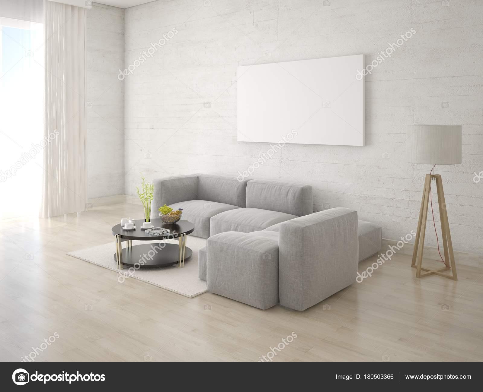 Divano Ad Angolo Grande : Mock poster soggiorno con divano angolo una grande cornice vuota
