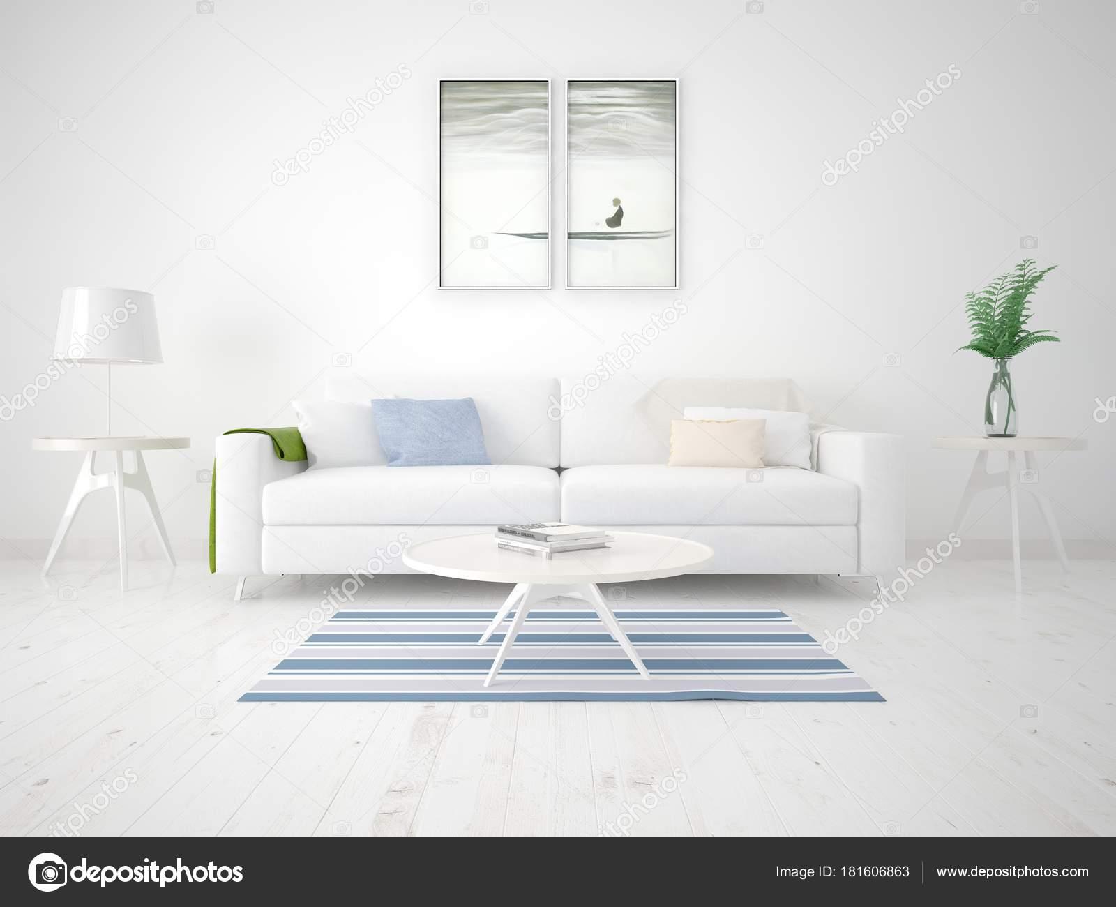 Mock Poster Bright Living Room Compact Sofa Stylish Frames — Stock ...