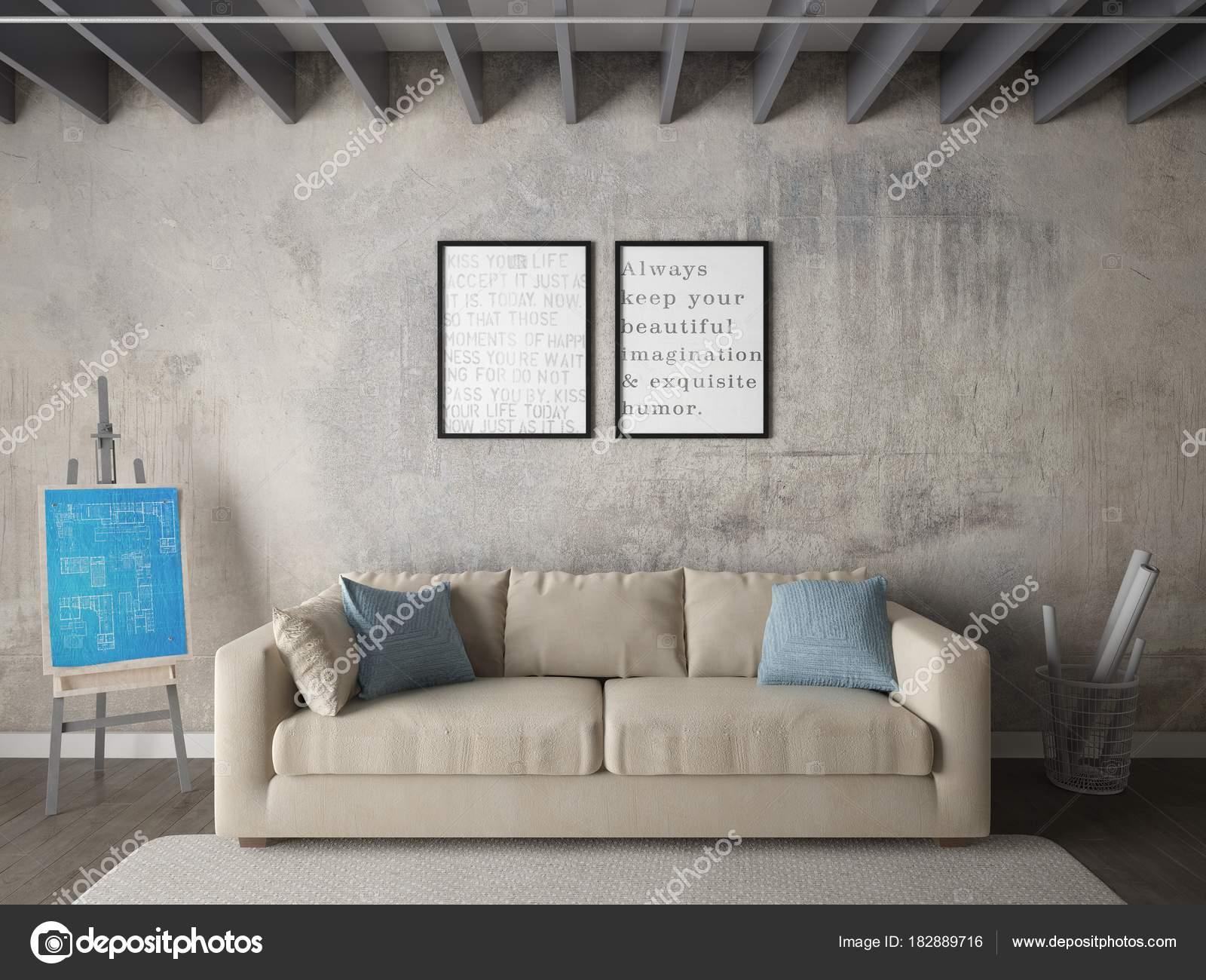 Mock Fashionable Living Room Comfortable Stylish Sofa Hipster ...