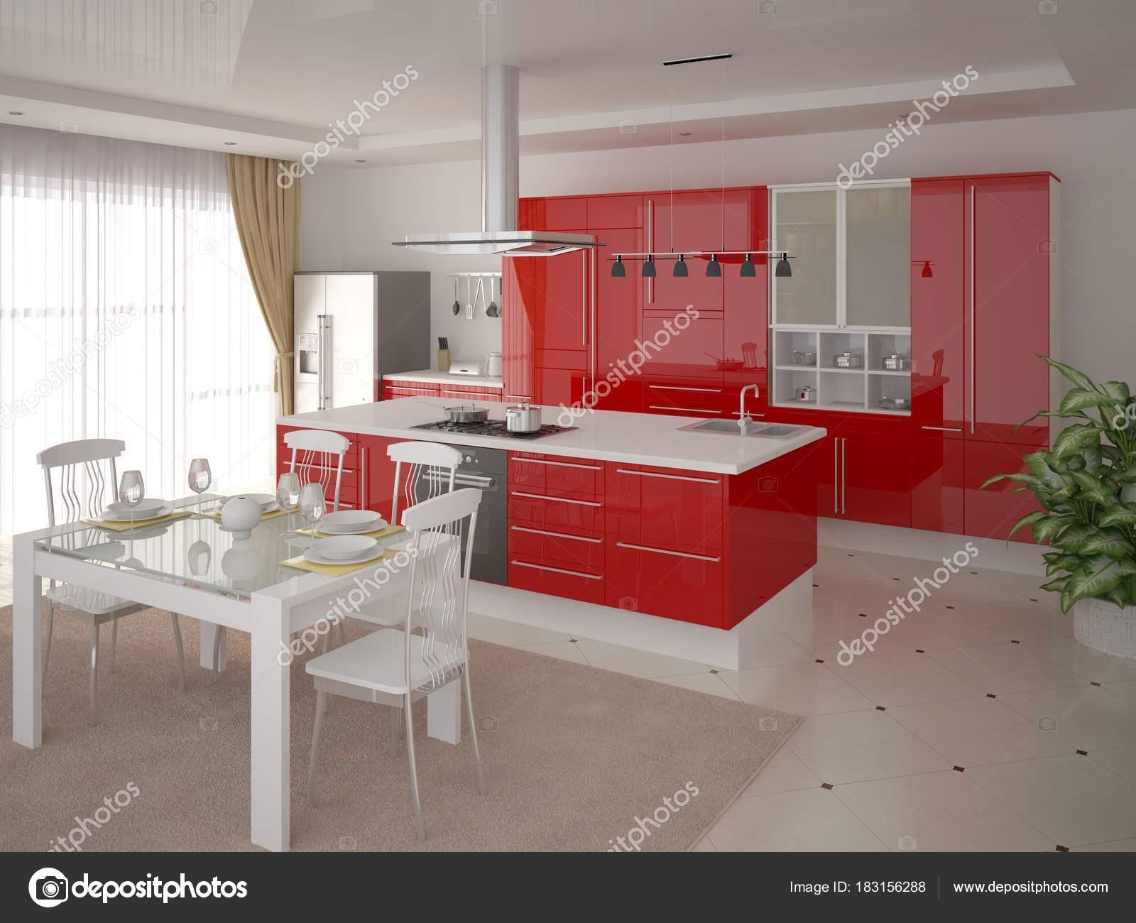 Moderne Küche Mit Roten Funktionsmöbel Und Hellen Hintergrund ...