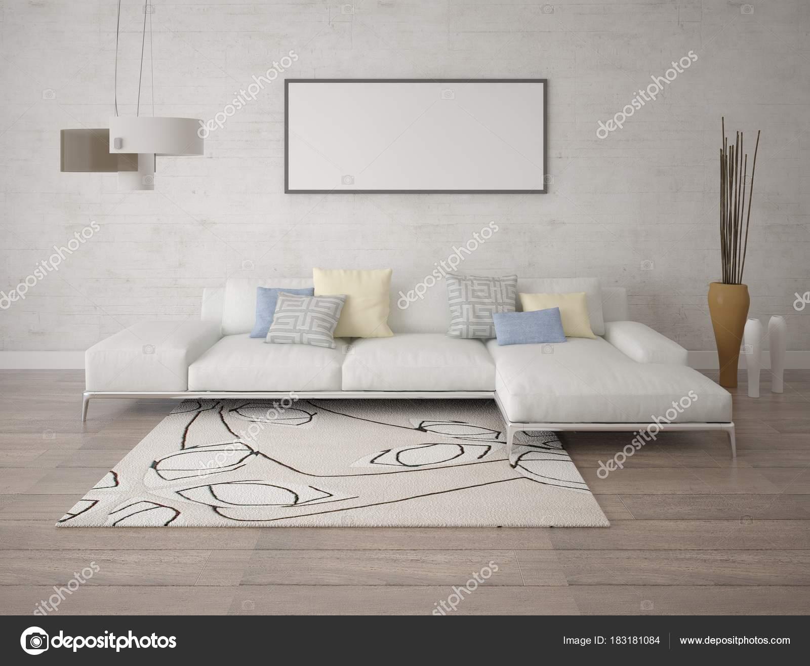 Mock Trendy Living Room Corner Light Sofa Light Hipster U2014 Stock Photo