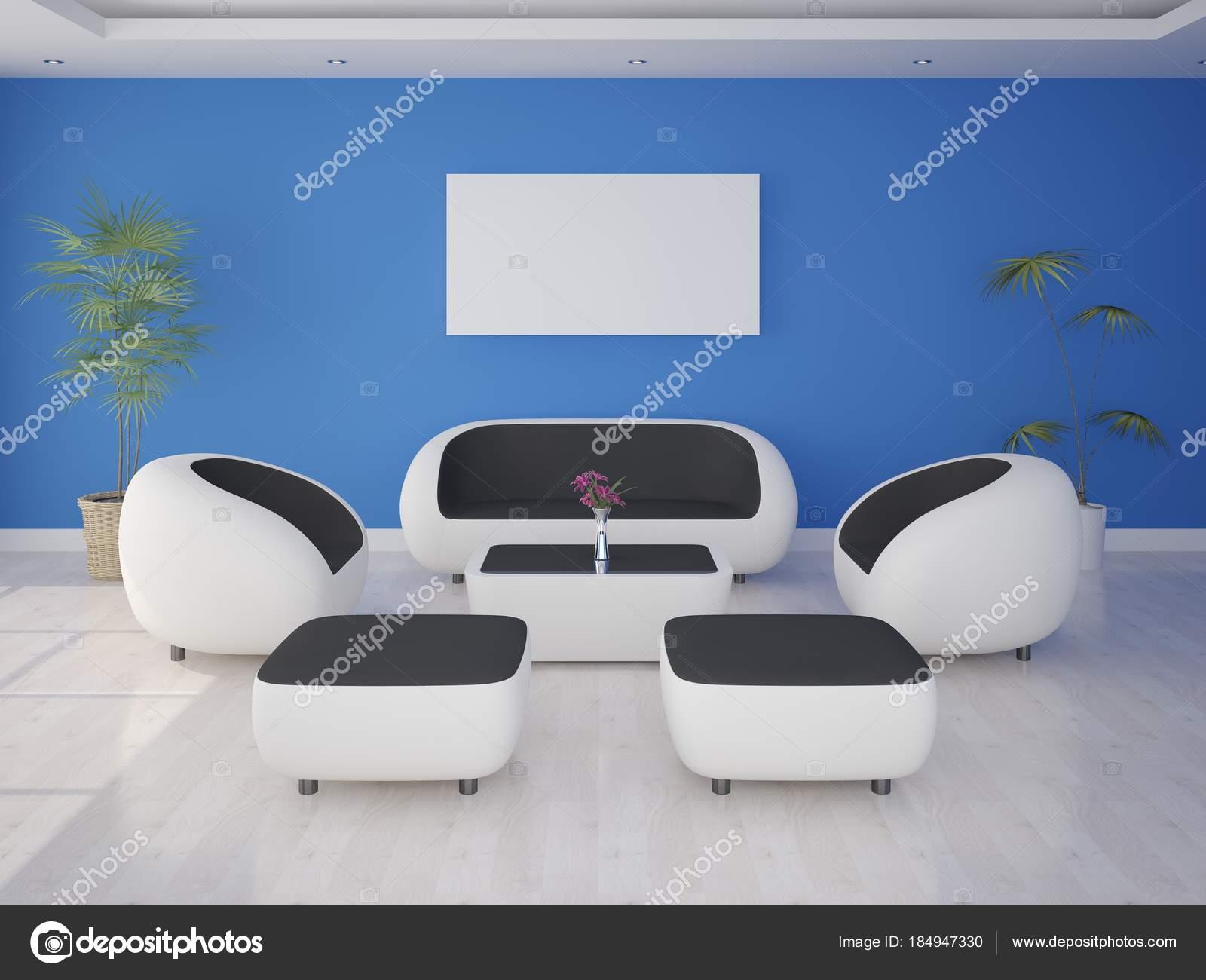 Mock Ein Modernes Wohnzimmer Mit High Tech Möbel Und Stilvolle U2014 Stockfoto