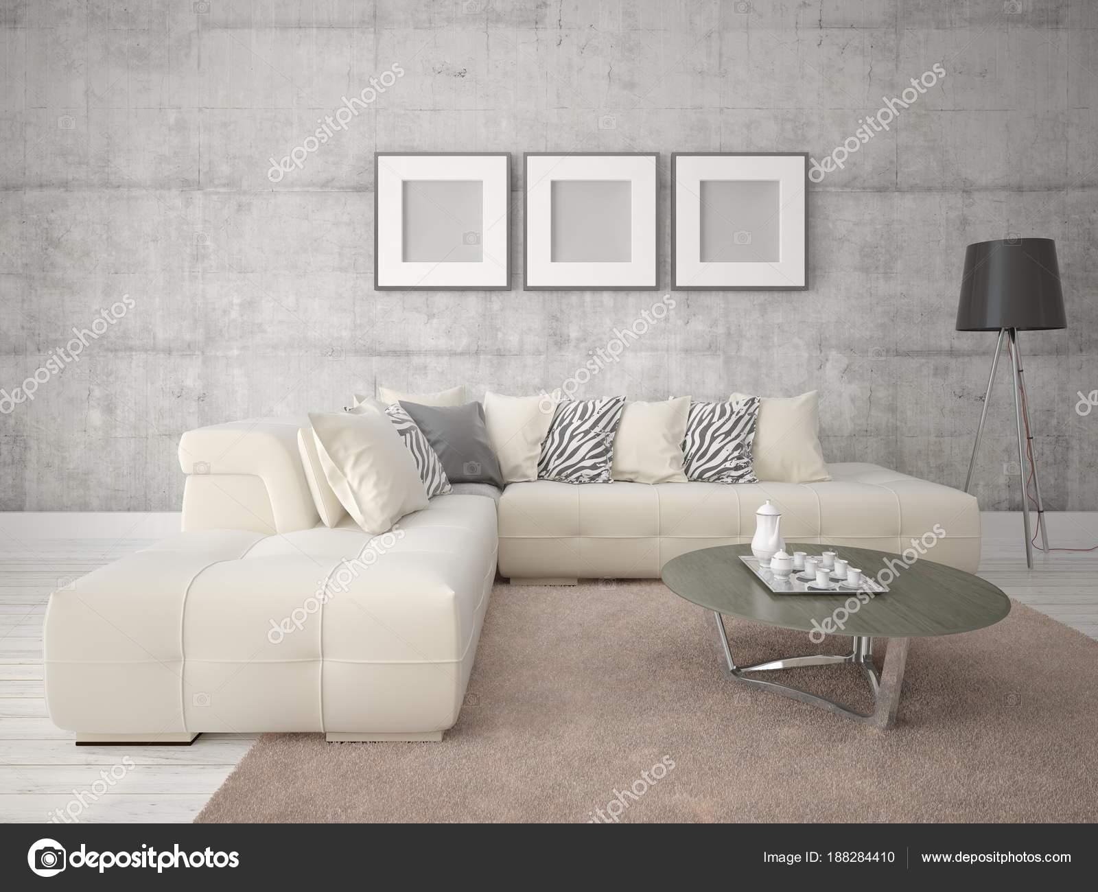 Mock Ein Modernes Wohnzimmer Mit Sofa Und Hipster Hintergrund Beige U2014  Stockfoto