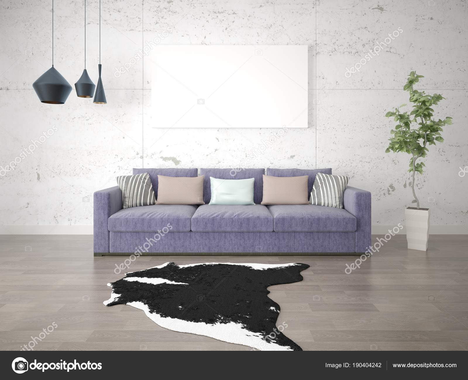 Mock Bright Living Room Purple Sofa Fashionable Background — Stock ...