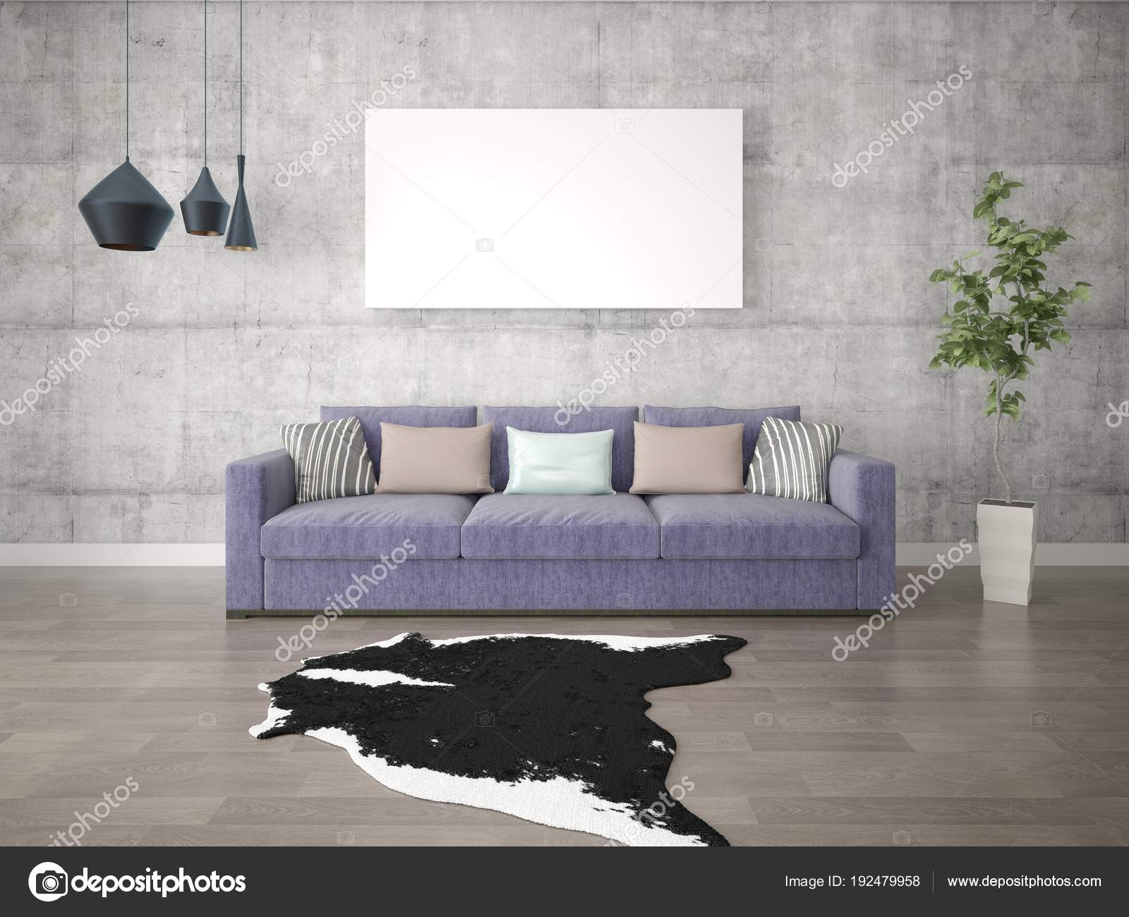 Mock Stylish Living Room Purple Sofa Hipster Background — Stock ...