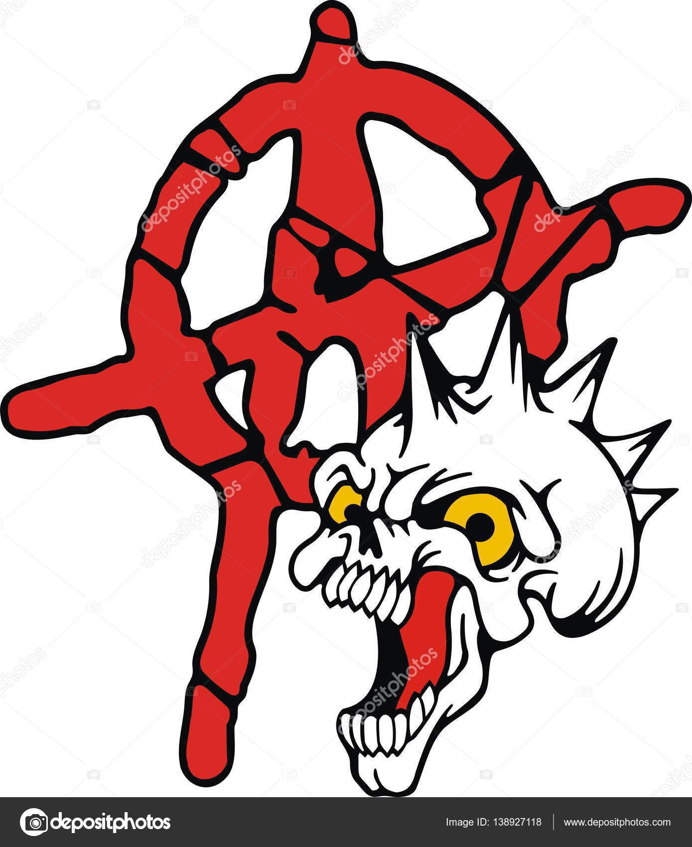 Anarchy skull symbol of non violence stock vector garywap anarchy has a negative meaning the word anarchist media used to represent an act of vandalism fights riots and other violent forms buycottarizona Choice Image