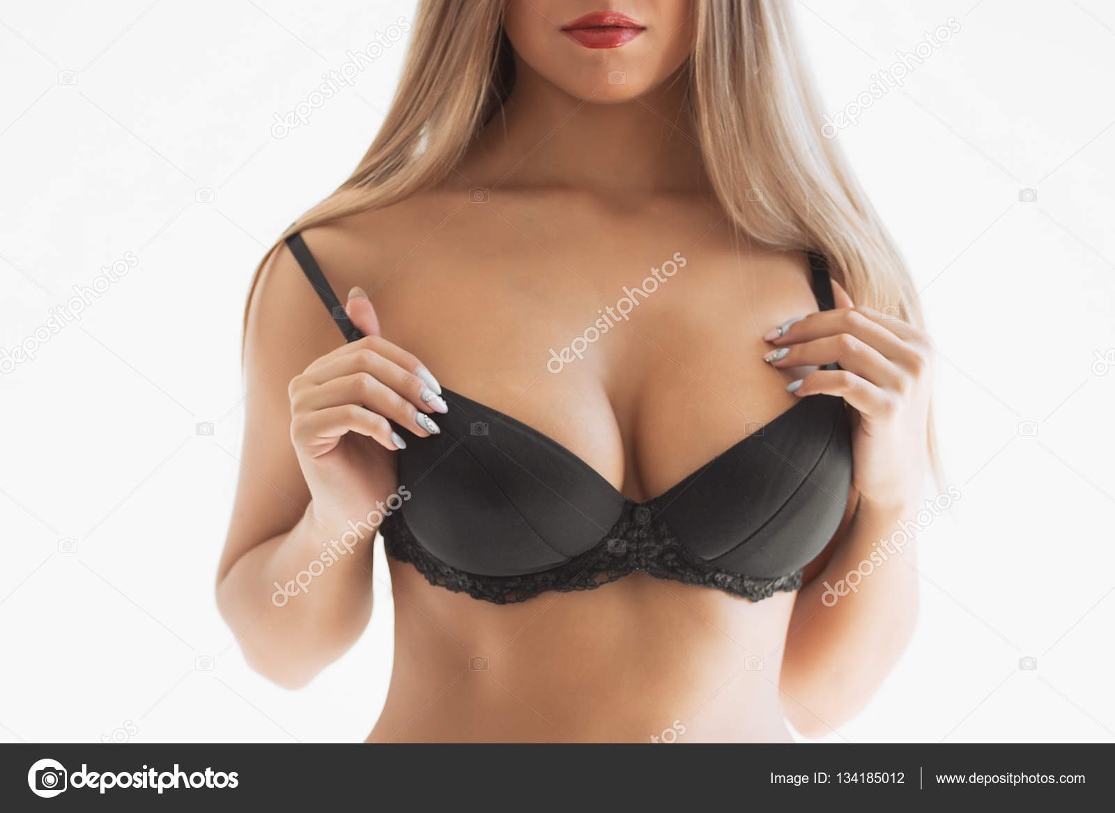 Beautiful Female Breasts In Black Lingerie Stock Photo