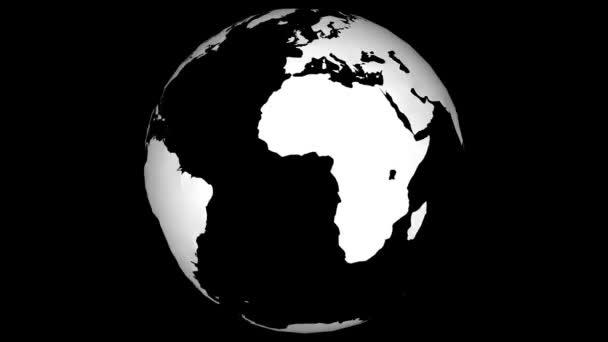 bílá mapa země rotující rychle v bezešvé smyčce s černým izolovaným pozadím
