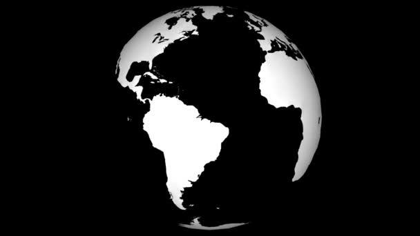 drótvázas földtérkép gyorsan forgó zökkenőmentes hurok fekete elszigetelt háttér