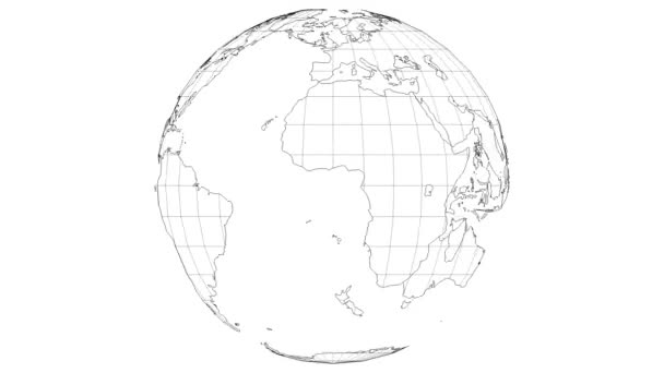 wire-frame earth map rotating fast in the seamless loop with white isolated background