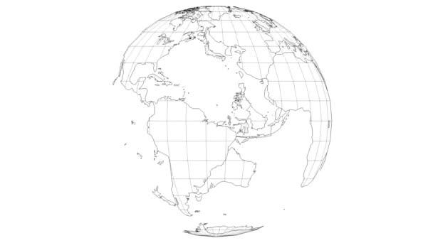 drátěná mapa země pomalu rotující v bezešvé smyčce s bílým izolovaným pozadím