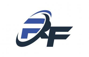 RF Blue Swoosh Global Digital Business Letter Logo