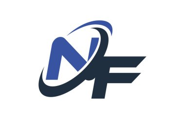NF Blue Swoosh Global Digital Business Letter Logo