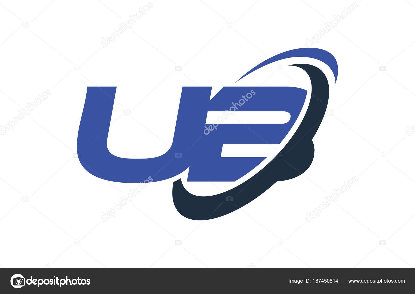 Blue green ub u b alphabet letter logo royalty free vector.