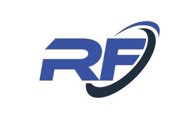 RF Logo Swoosh Ellipse Blue Letter Vector Concept