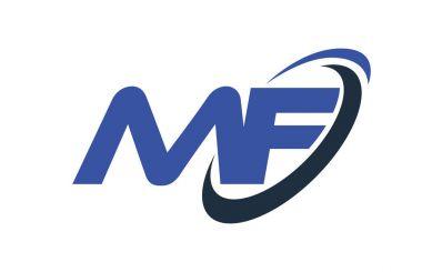 MF Logo Swoosh Ellipse Blue Letter Vector Concept