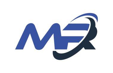 MR Logo Swoosh Ellipse Blue Letter Vector Concept
