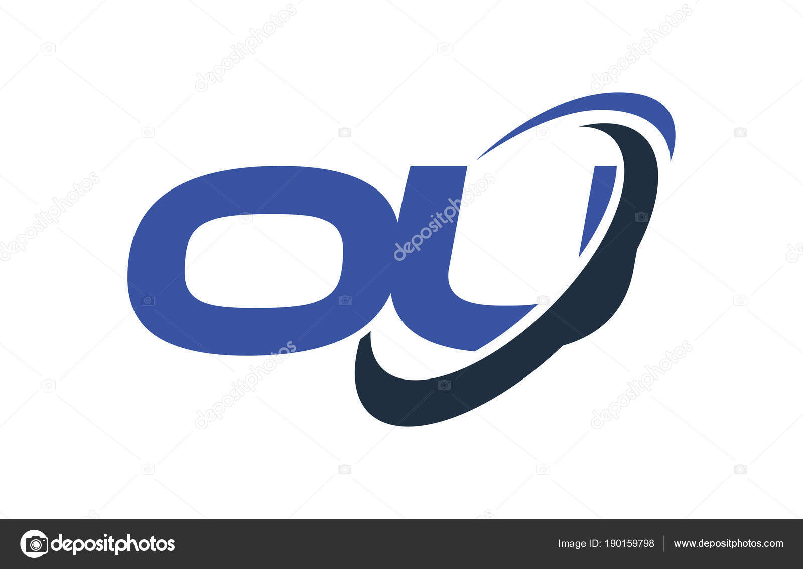 logo swoosh ellipse blue letter vector concept stock vector