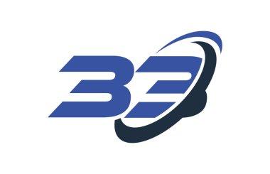 33 Logo Number Blue Swoosh Ellipse Vector Symbol Template