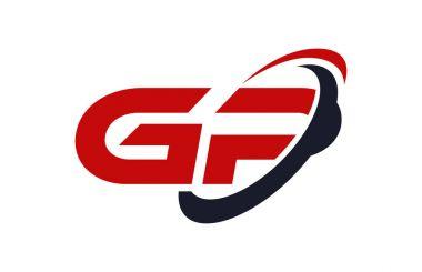 GP Logo Swoosh Ellipse Red Letter Vector Concept