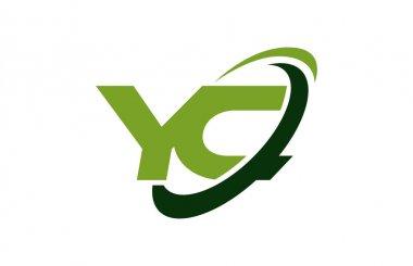 YC Logo Swoosh Ellipse Green Letter Vector Concept
