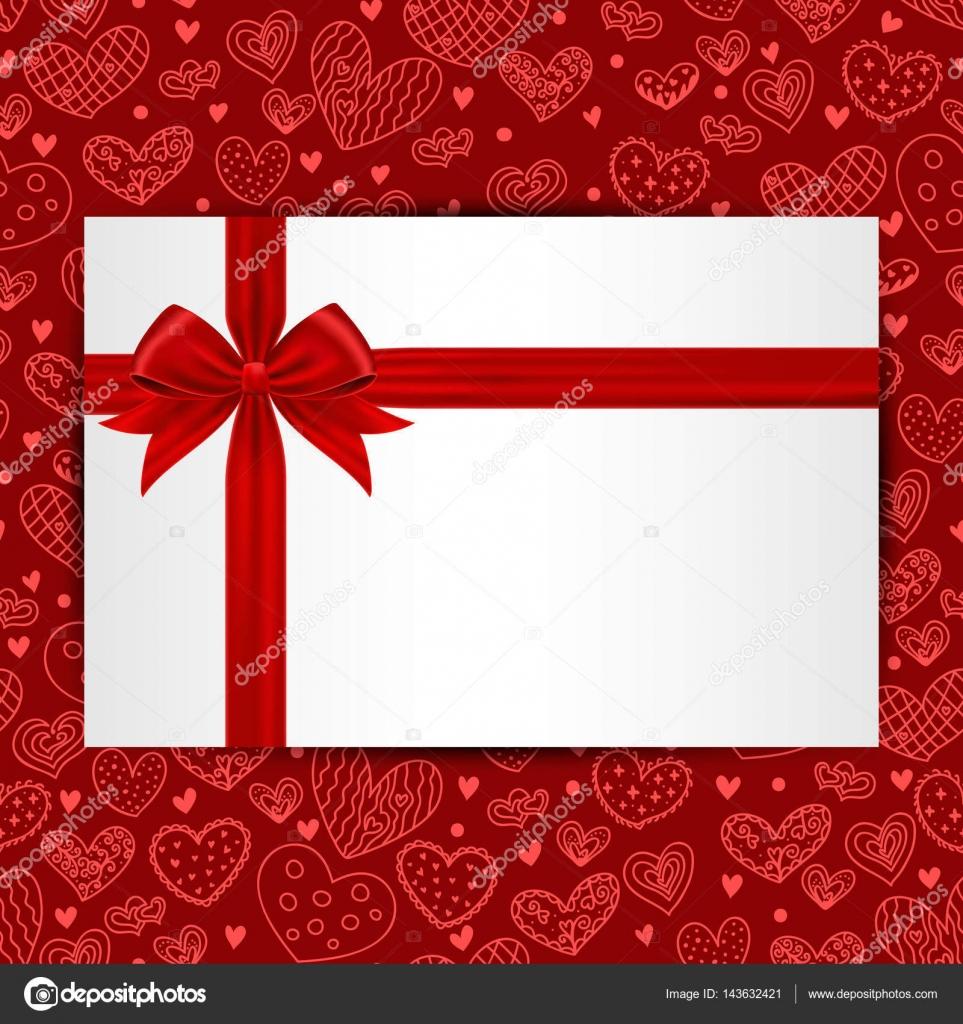 Tarjeta con arco rojo de regalo y cinta en patrón transparente ...