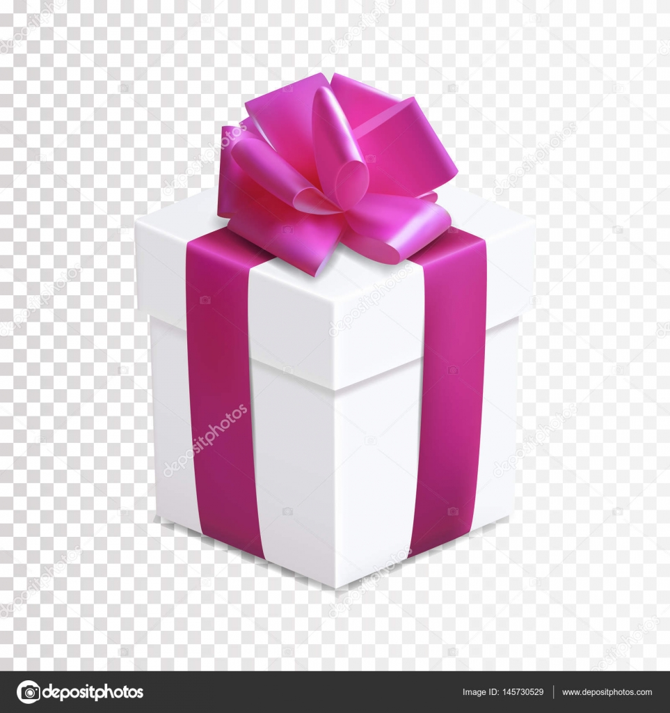 Gift box with pink bow and ribbon on transparent background ...
