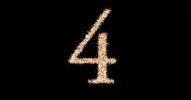 Négyes számú arany csillám hurok. Ragyogó részecskék alakja. 3D animáció
