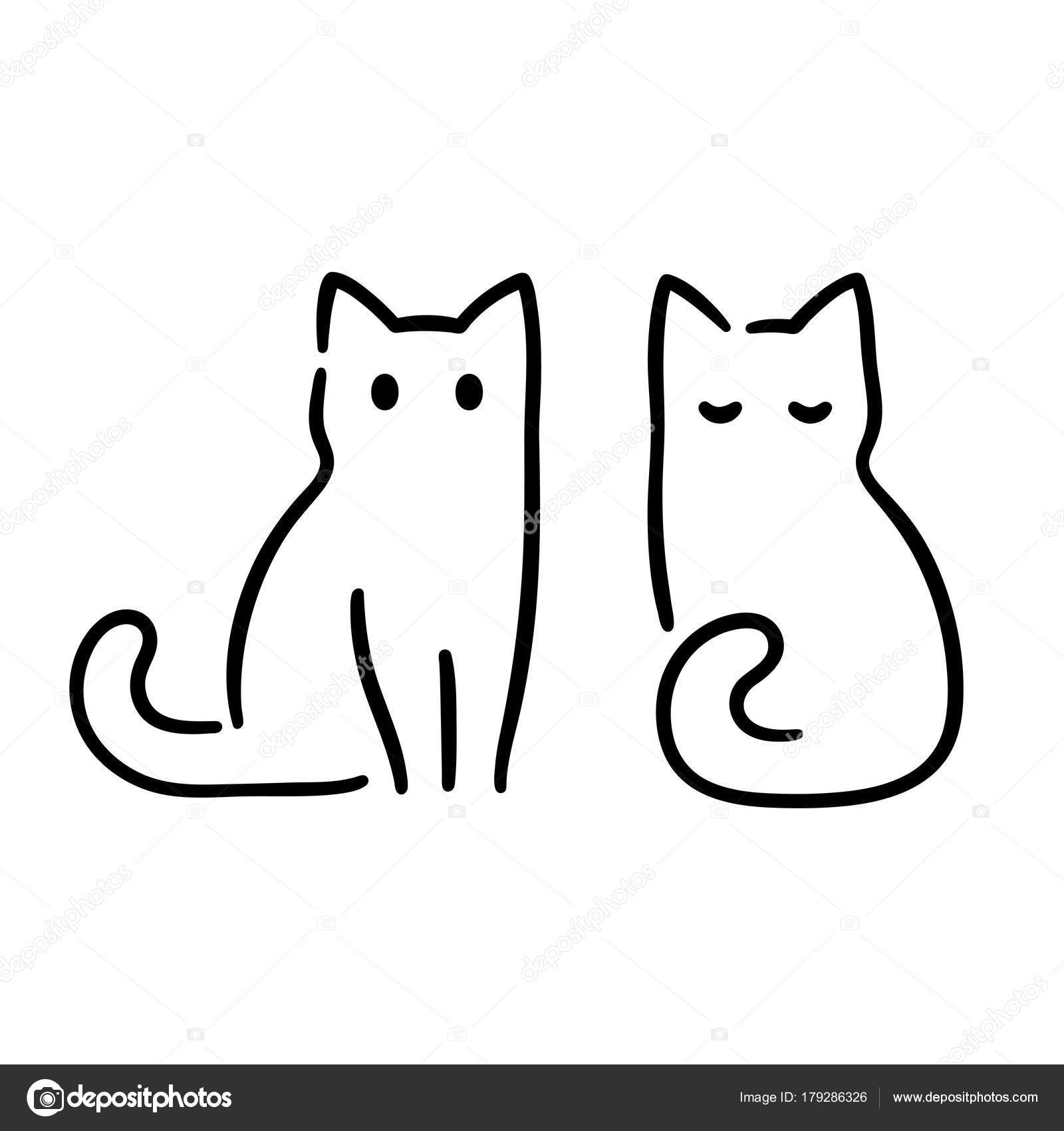Pictures Cat Drawing Minimal Cat Drawing Stock Vector C Sudowoodo 179286326