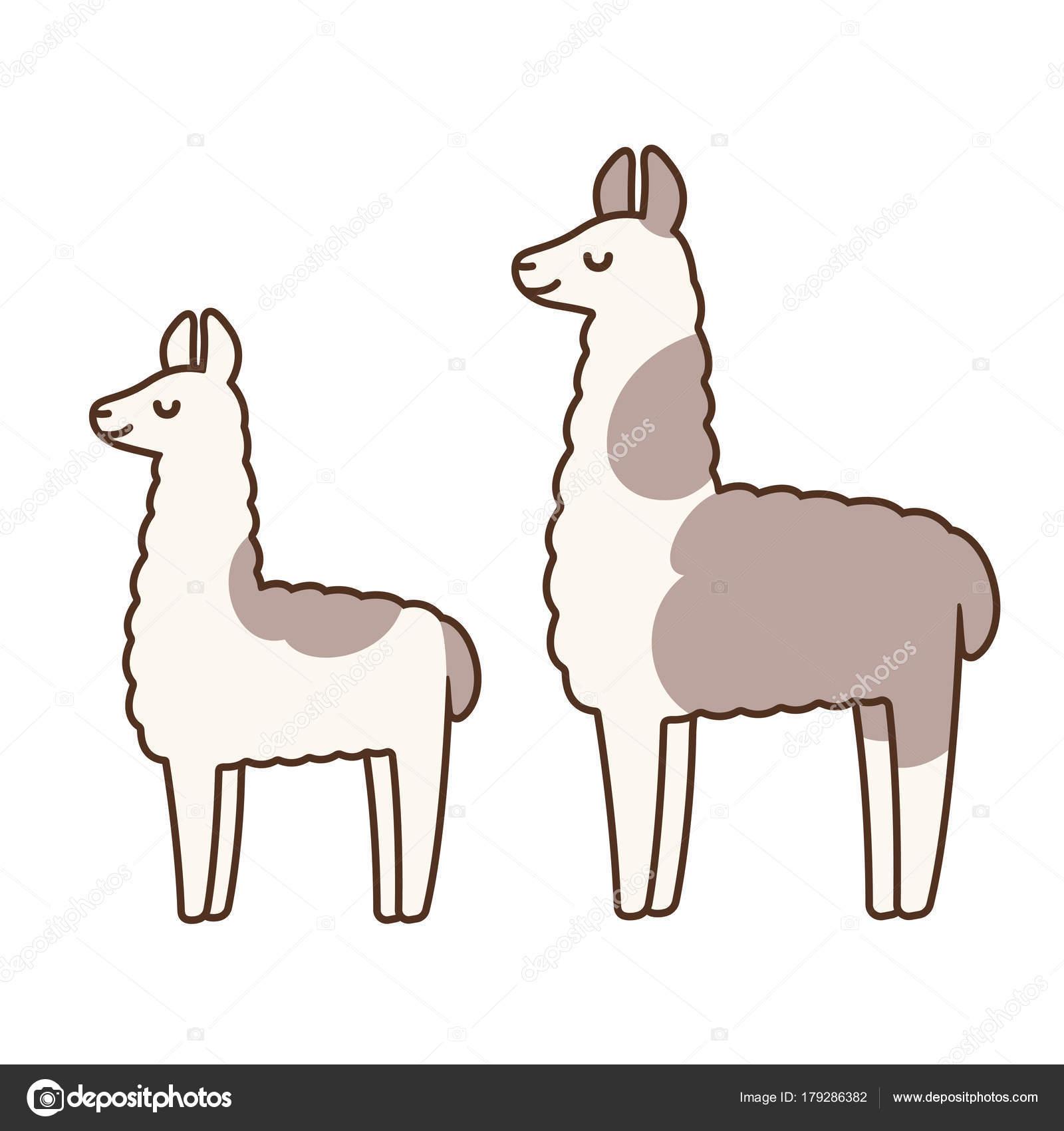 cute cartoon llamas — stock vector © sudowoodo #179286382