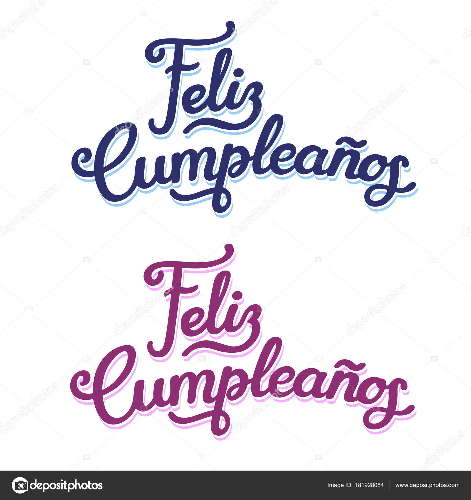 Feliz Cumpleanos Handwritten Text Lettering Design Two Color ...