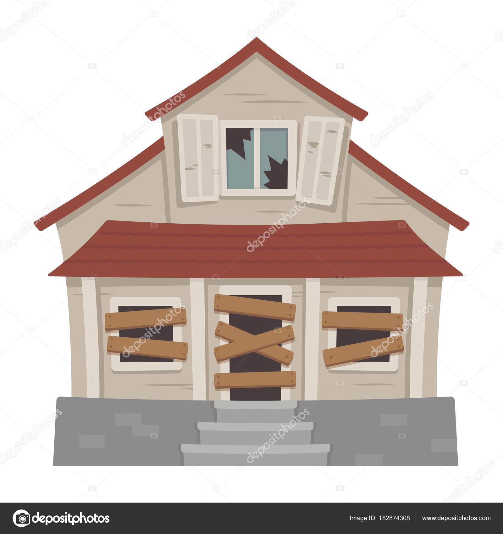 Vieille abandonnée illustration vectorielle de maison dessin animé décomposition de banlieue cottage avec bris de glaces vecteur par