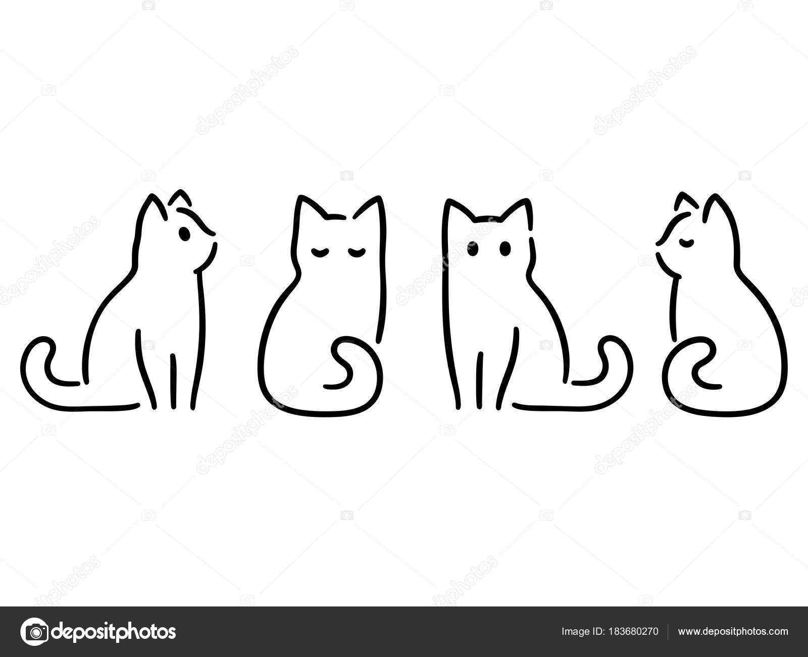Line Art Painting Images : Minimal cat drawing — stock vector sudowoodo