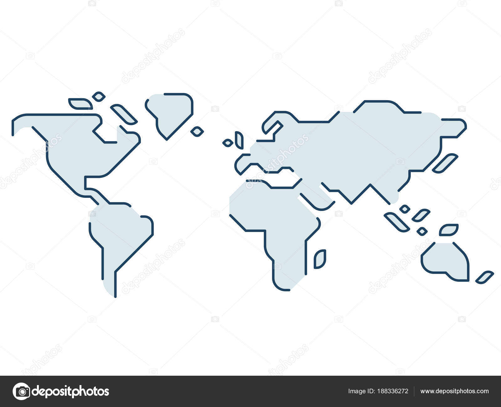 minimal world map vector image collections