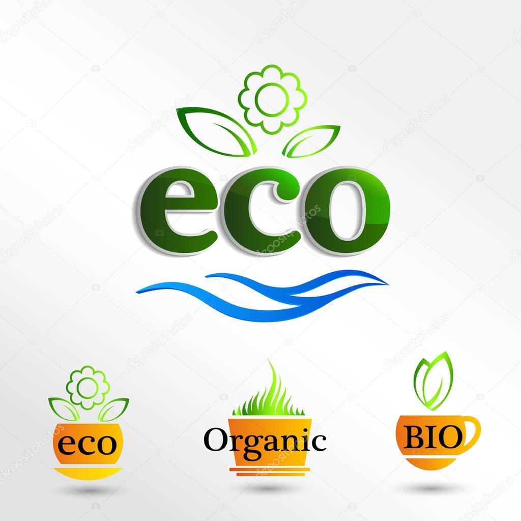 Set Eco logos, elementos de la plantilla de diseño, icono natural ...